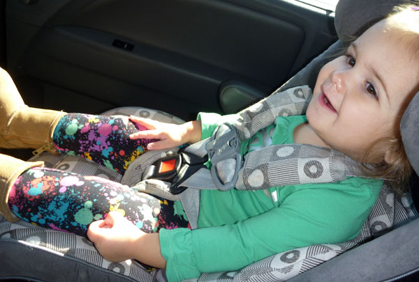 Milly Dotsey gets to face forward in the car seat for the first time